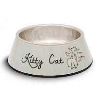 EETBAKJE KITTY CAT GRIJS MELAMINE/RVS